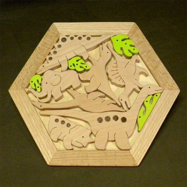 木のパズル 恐竜たちとマンモスの画像1枚目