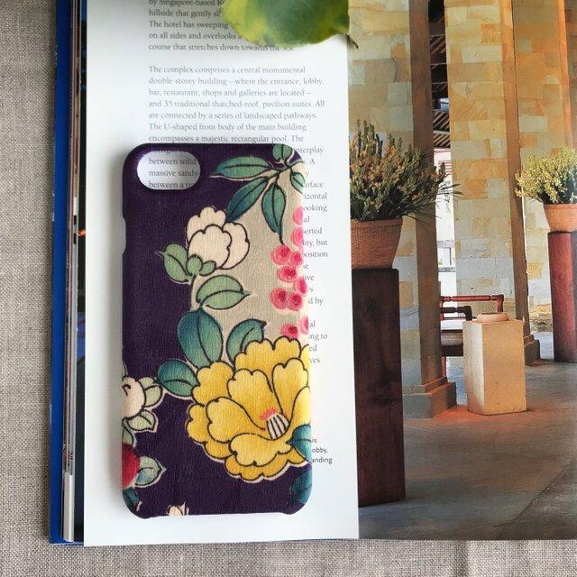 【KIMONO】アンティーク着物のiPhoneケース(紫に黄椿)の画像1枚目