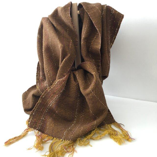 変わり糸の織り込みストール ブラウン コットン100%の画像1枚目