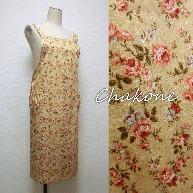 【エプロン】大人の可愛いエプロン・ワンピース・ドレス(クロス紐) 花柄 コットン YUWAの画像1枚目