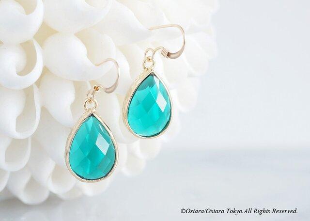 【14KGF】Earrings,Teardrop Glass-Emerald-の画像1枚目