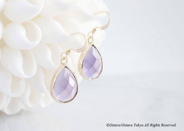 【14KGF】Earrings,Teardrop Glass -Tanzanite-の画像1枚目
