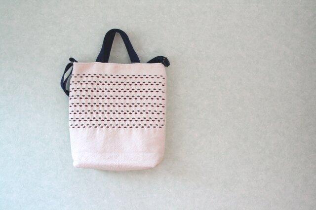 スウェーデン手織りトートバッグ(生成り×えんじ)の画像1枚目