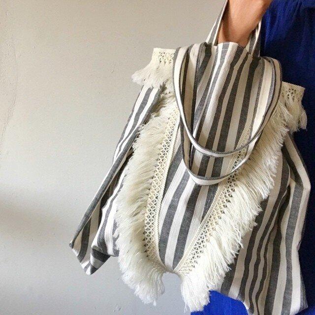 cotton linen stripe bag (black)の画像1枚目