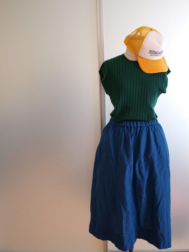 LINEN ロングスカート *アオゾラ* size FREEの画像1枚目