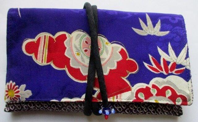 送料無料 絞りと花柄の着物で作った和風財布・ポーチ 3359の画像1枚目