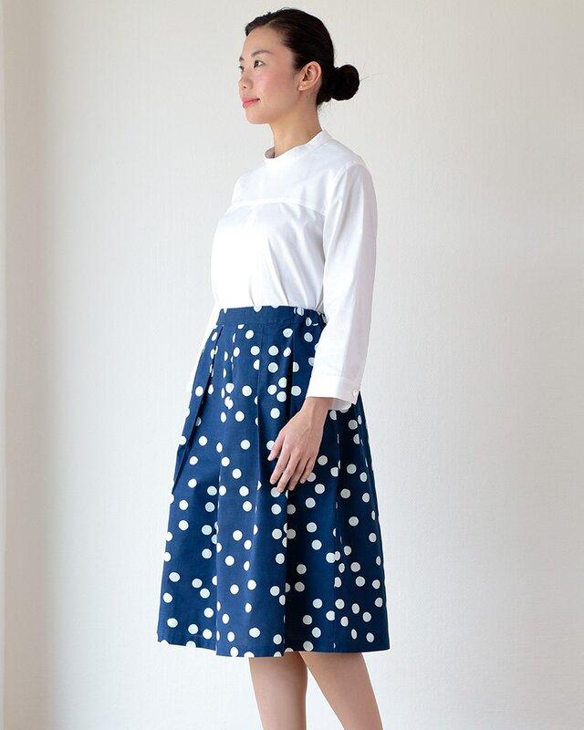藍染め スカート 「おおきな水滴」タックスカートの画像1枚目