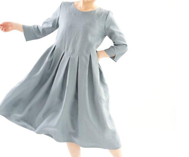 【wafu】中厚 リネンワンピース タック スカート ドレス 半端袖 ミモレ丈 丸首 / エタインブルー a013a-ebn2の画像1枚目