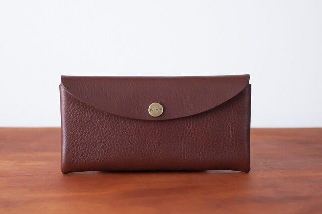 イタリア製牛革のコンパクトな長財布 / ダークブラウン※受注製作の画像1枚目