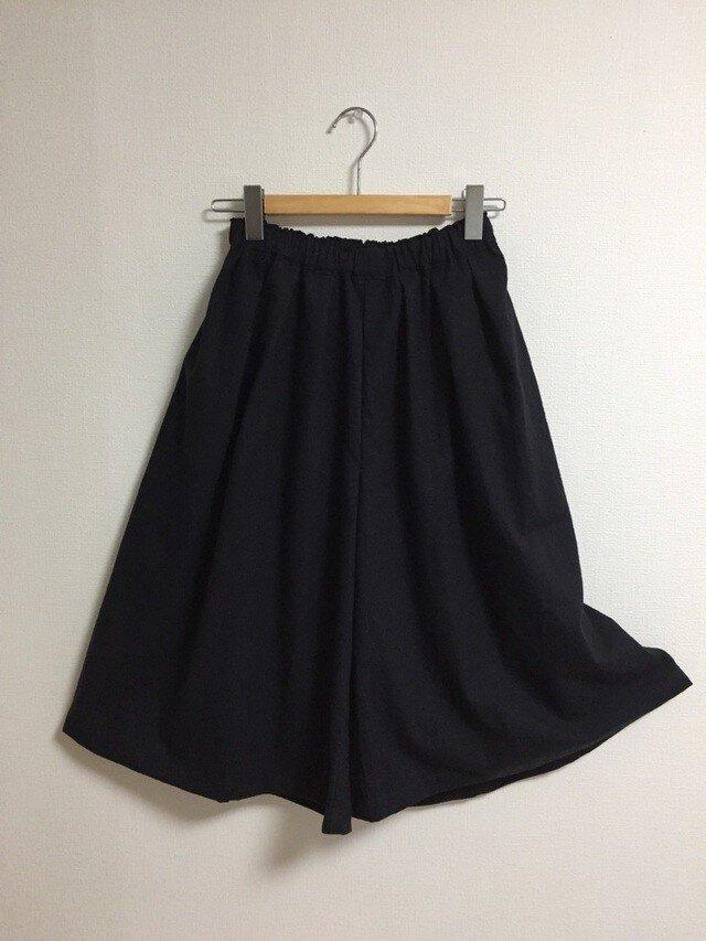 【ゆったりサイズ】cottonリネンのスカーチョ【ブラック】の画像1枚目