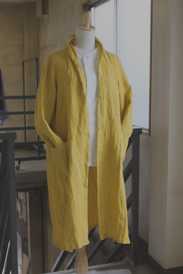 リネンロングガーディガン/saffron yellow *リトアニアリネン【受注生産品】の画像1枚目