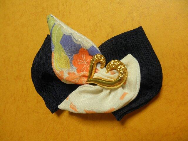 「桜の翼」ブルー&古布友禅バレッタの画像1枚目