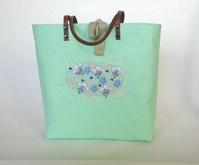 刺繍入り帆布トートバッグ 花の森 ミントグリーンの画像1枚目