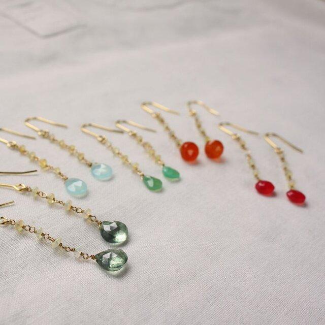 Ethiopian Opal Hooked earrings エチオピアンオパールゆらゆらピアス/イヤリングの画像1枚目