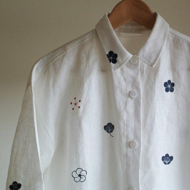 リネンシャツ・ 白 <梅家紋> の画像1枚目