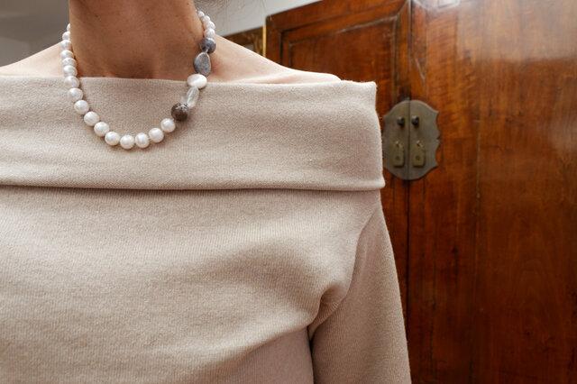 【再販】モダンパール!淡水パールの45cmネックレスの画像1枚目