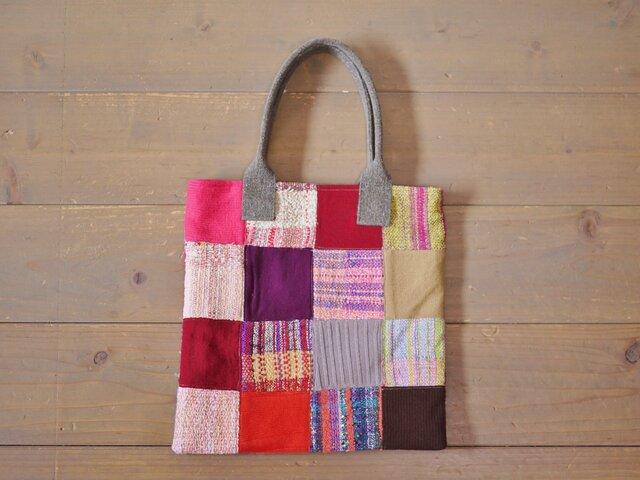手織り パッチワークトートバッグの画像1枚目