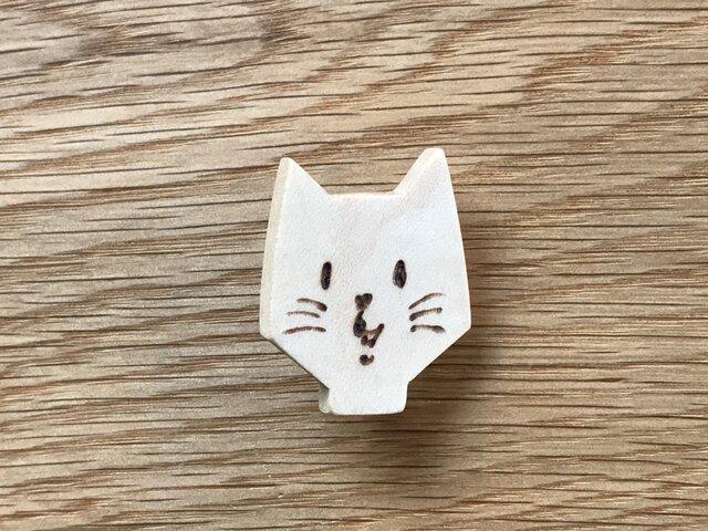 にゃんこブローチ男の子 猫 cat 木製 木の画像1枚目