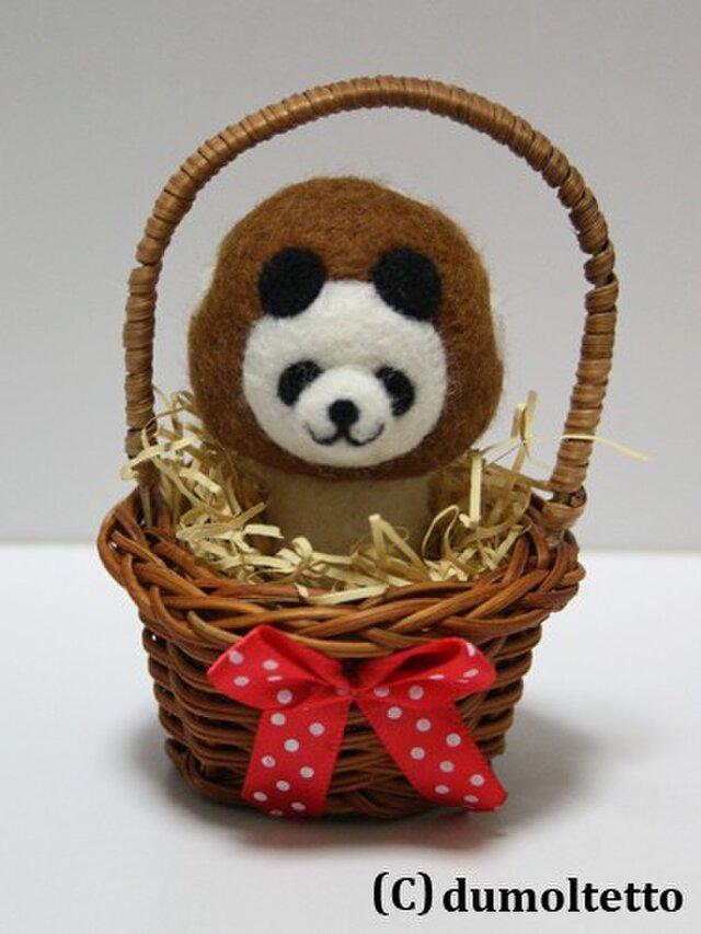 羊毛フェルトキノコパンダのマスコット(茶色):ミニかご入りの画像1枚目