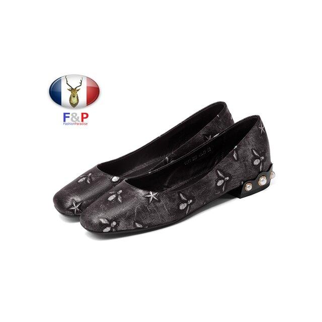 スクエアトゥエンボスハラコレザーペタンコ靴ヒールビッグパールバレエシューズ全2色の画像1枚目