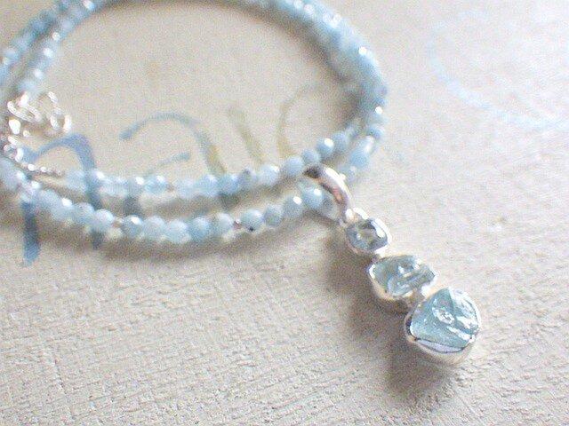 アクアマリン ラフロック Blue Ocean Gem Necklace*sv925の画像1枚目