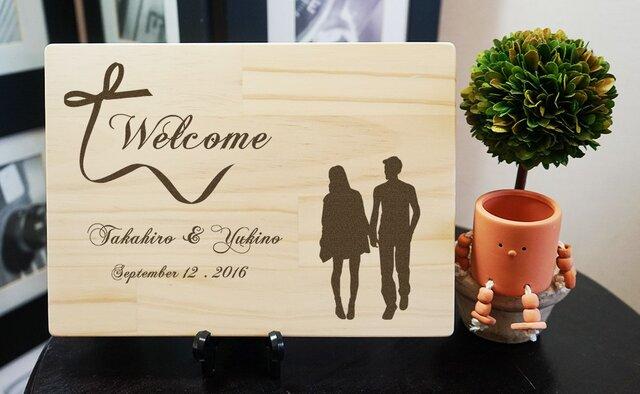 木目が美しい木のウェルカムボード。シックな結婚式に、ブライダルの受付に、和風挙式に。の画像1枚目