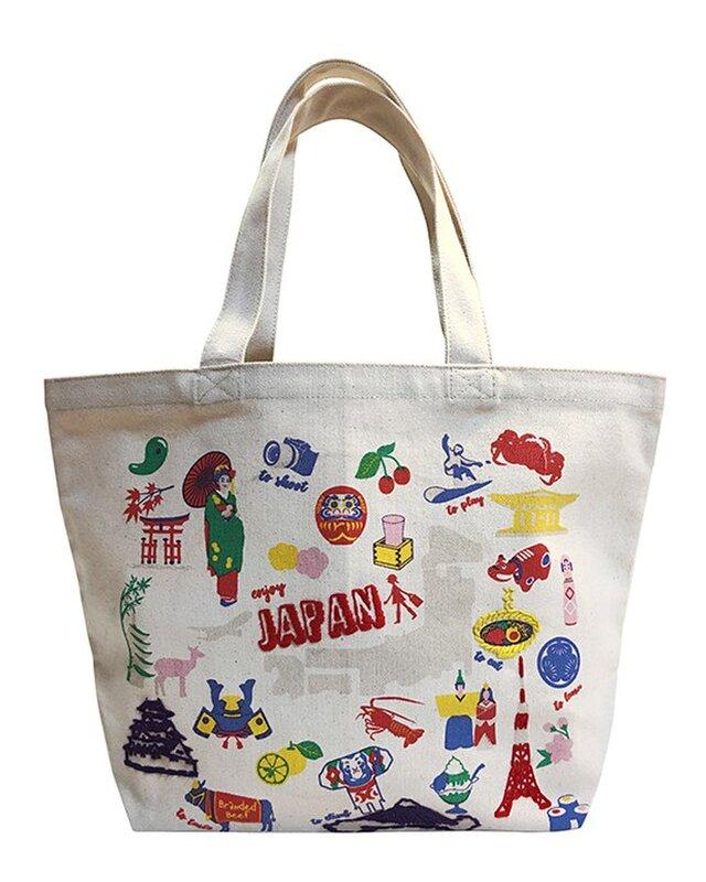 オーガニックコットン手刺繍イラストトートマップ JAPAN 日本マップの画像1枚目