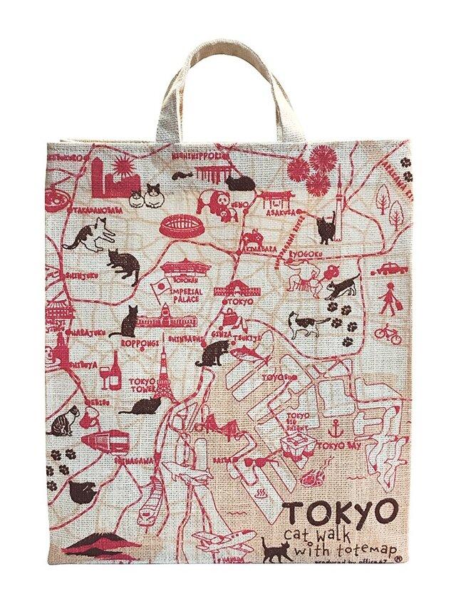 ジュート(麻)のショッピングトートバッグ 東京お散歩猫ちゃんの画像1枚目