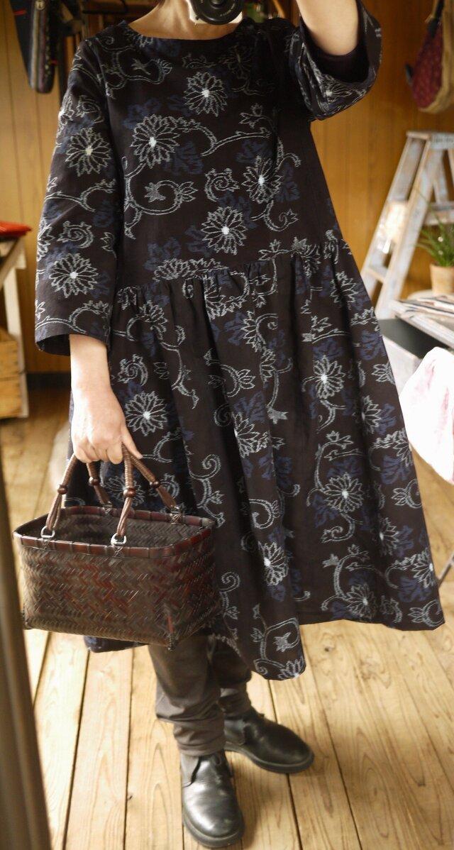 手織り久留米絣ワンピースの画像1枚目