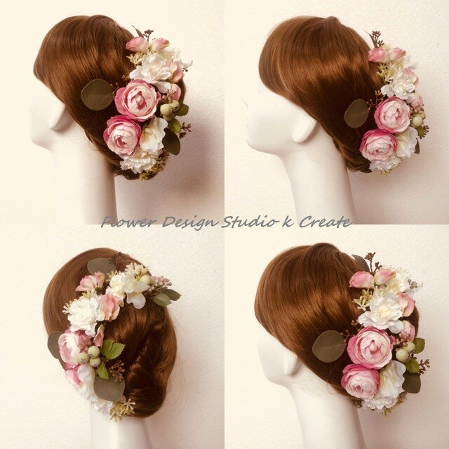 ウェディングに♡ほんのりピンクの薔薇のヘッドドレス(Uピン15本セット)の画像1枚目