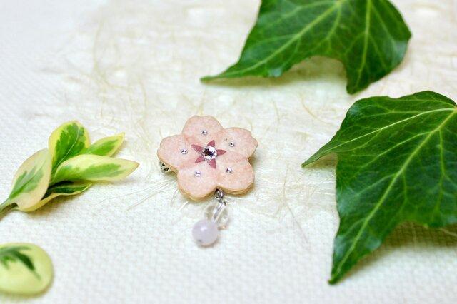 【和紙貼り絵アクセサリー】-夢桜(ゆめさくら)ブローチBの画像1枚目