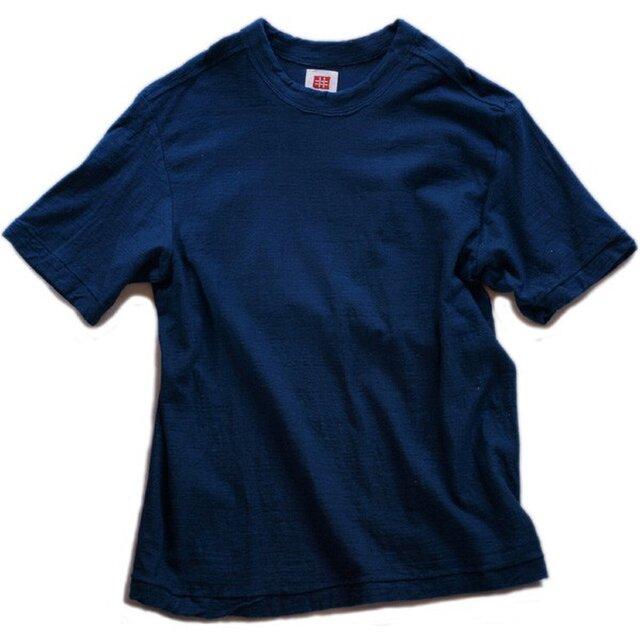Tシャツ レディース 半袖 オーガニックコットン 藍染め 吊天竺 インディゴの画像1枚目