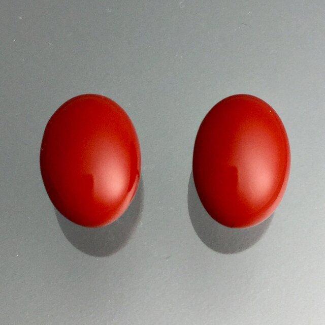 漆ピアス(赤・楕円)小の画像1枚目