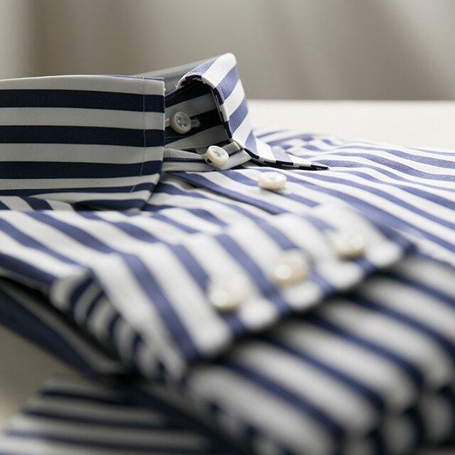 【size M 小さめ(首廻38)】トーマスメイソン タブカラー ロンドンストライプシャツの画像1枚目