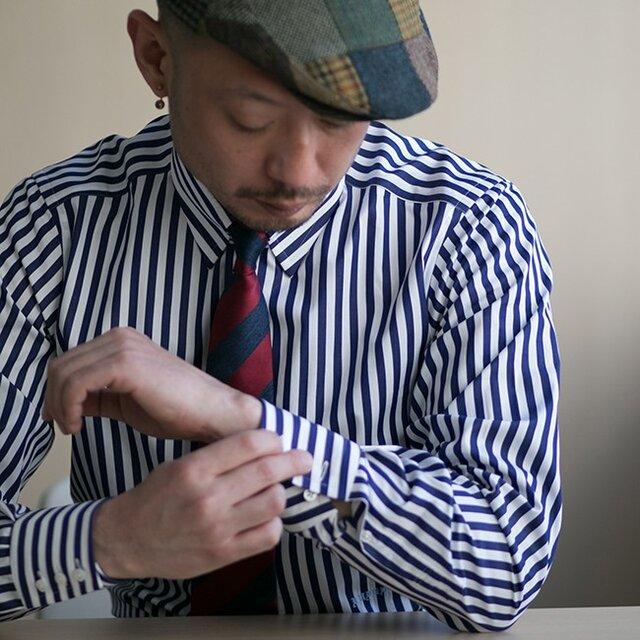 【size XXL 小さめ(首廻44)】トーマスメイソン タブカラー ロンドンストライプシャツの画像1枚目