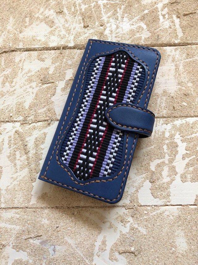Reiさん オーダーページ iPhoneスマホケース 手帳型 ネイビー×キャメル 伊波メンサー織(織物シリーズ)の画像1枚目