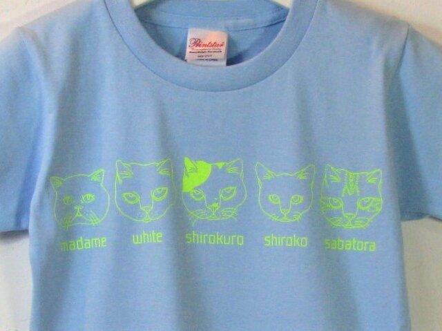 【130】猫ファイブ Tシャツ キッズの画像1枚目