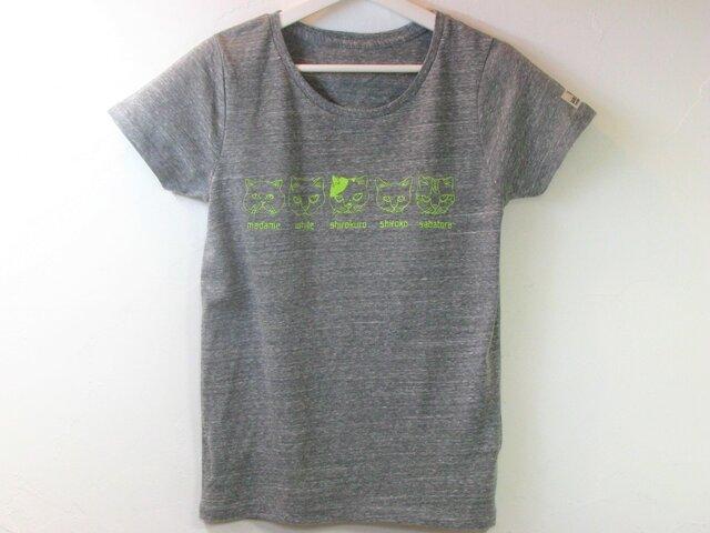 【M】猫ファイブ Tシャツ レディースの画像1枚目