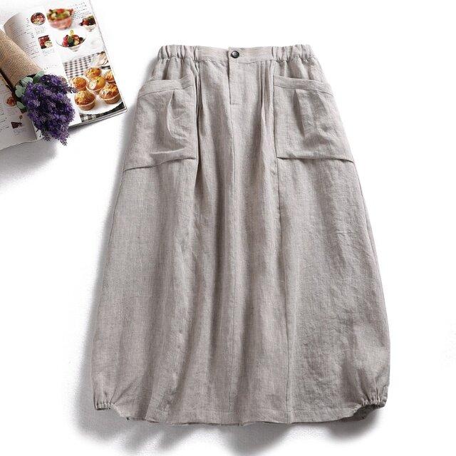 f8031507 天然麻の色 麻100%  ポケット付き スカート ロングスカートの画像1枚目