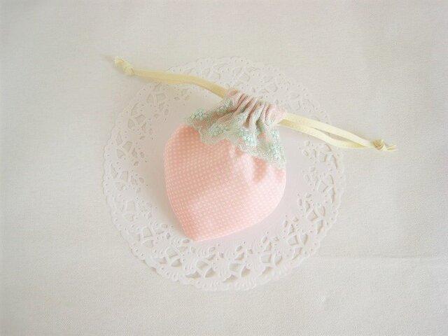 可愛いイチゴのミニ巾着(ピンク)の画像1枚目