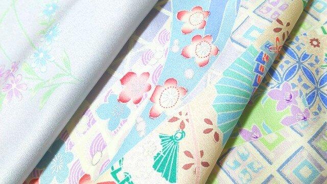 正絹振袖 はぎれ⑧【熨斗に花古典柄模様】50cm(012の画像1枚目