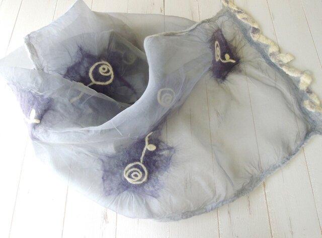 ふんわりシルクと羊毛ストール *ローズ*ライトグレーの画像1枚目