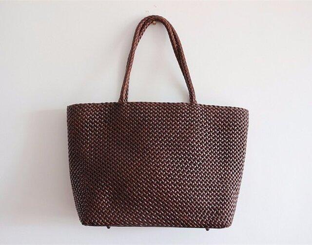 【受注製作】手編み牛革ショルダトートバッグしっかりとした編み込み FB228の画像1枚目