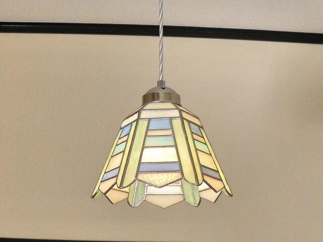 ペンダントライト・ボーダー(ステンドグラス)天井のおしゃれガラス照明 Lサイズ・19の画像1枚目