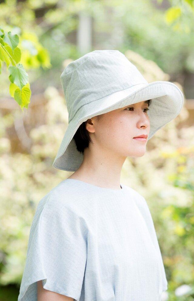 Organic Cotton  日よけ帽【薄手ヘリンボーン生地/グレー】の画像1枚目