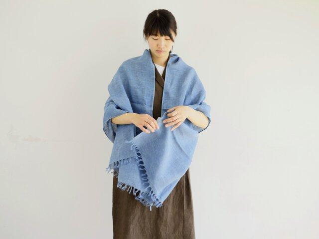 エシカルヘンプ手織りストール 正藍染め縹色 Mの画像1枚目