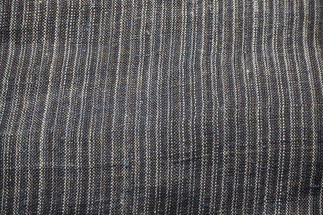 asa000601 縞紋様麻布 100cmカット売り 藍染☆古布古裂/木綿/筒描き/型染め/藍染/絹/ボロ襤褸の画像1枚目