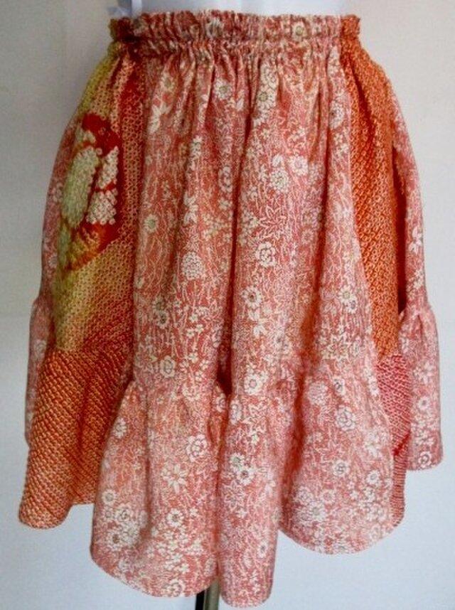 送料無料 花柄の着物と絞りで作ったミニスカート 3396の画像1枚目
