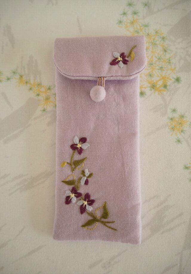すみれのめがねケース Lilac(Pink)の画像1枚目