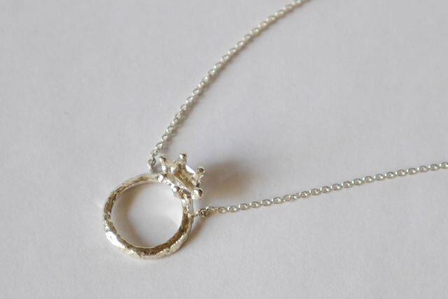 Herkimer diamond baby ring necklace(sv) ハーキマーダイヤモンド★ベビーリング★ネックレスの画像1枚目